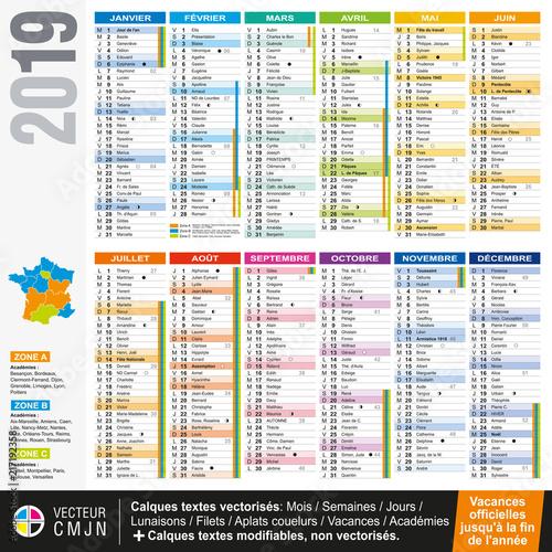 Fotografia  Calendrier français 2019 avec vacances scolaires officielles