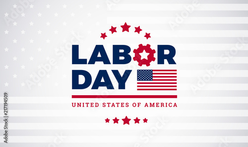 Valokuvatapetti Labor Day workers day celebration lettering with american flag, Labor Day vector