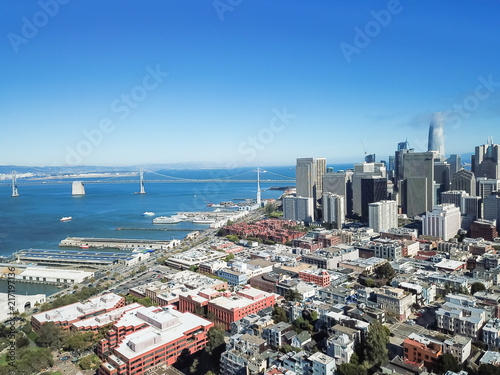Staande foto Oceanië Aerial view San Francisco waterfront with Jackson Square neighborhood, Embarcadero boulevard, Bay Bridge and part of Financial District buildings