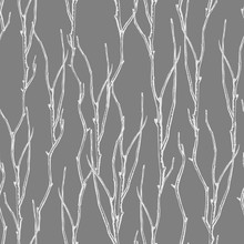 Seamless Graphic Pattern Of Twisted Branches.