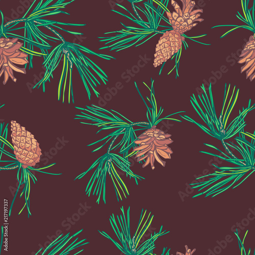 Tuinposter Vlinders Christmas seamless pattern of pine branches and cones.
