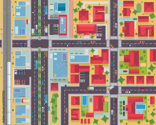 Fotografie, Obraz  Top View Urban City Map Housing And Commercial Area Illustration