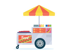 Modern Summer Business Hot Dog Street Food Cart Illustration In Isolated White Background