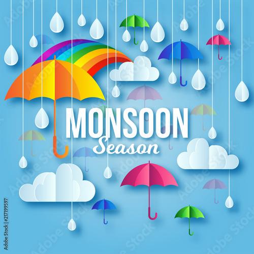 Modern Colorful Monsoon Season Paper Art Greeting Card Illustration Fotobehang