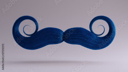Big Blue Bushy Movember Mustache 3d illustration 3d render Wallpaper Mural