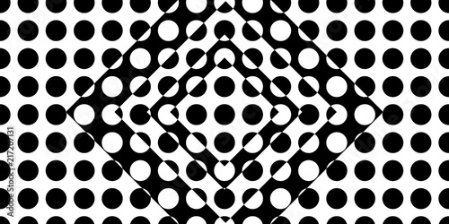Fotografie, Obraz  Abstract black and white dots background