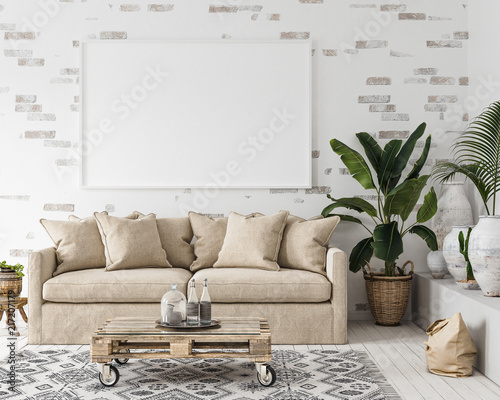 Mock-up frame in interior background,Scandi-boho style, 3d render Wall mural
