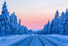 Evening On The Winter Road In ...