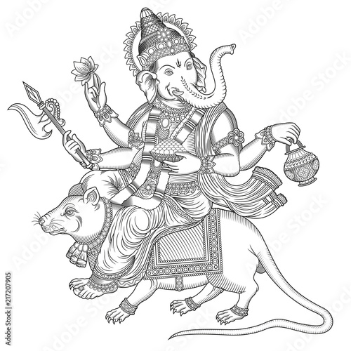 ganesha on a mouse engraving Canvas Print