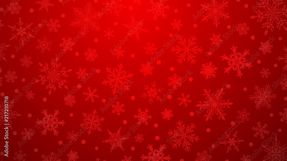 Fototapety, obrazy: Christmas illustration with various small snowflakes on gradient background in red colors