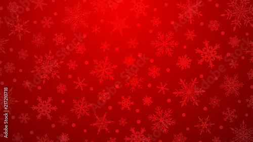 Fotografie, Obraz  Christmas illustration with various small snowflakes on gradient background in r