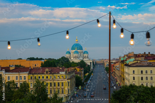 Spoed Foto op Canvas Bedehuis Panorama top view of the city, Trinity Cathedral, bridges and the Fontanka river. Russia, St. Petersburg