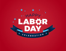 Happy Labor Day Celebration Text Vector Illustration - USA Labor Day Lettering Ribbon, Red Background
