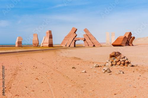 Tuinposter Egypte Entrance in the Ras Mohammed National Park. Famous travel destionation in desert. Sharm el Sheikh, Sinai Peninsula, Egypt.