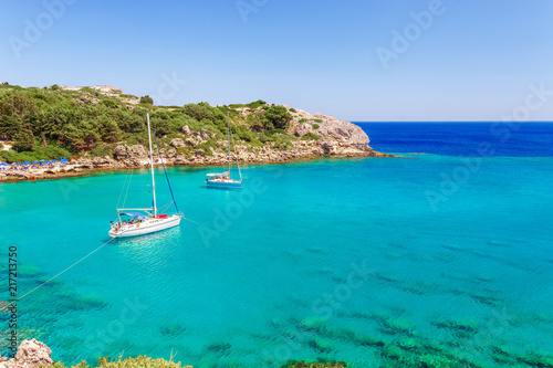Sea skyview landscape photo Ladiko bay near Anthony Quinn bay on Rhodes island, Dodecanese, Greece Canvas Print