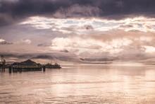 Monring Sunrise In Valdez, Alaska. Harbour. Sunset Ocean.