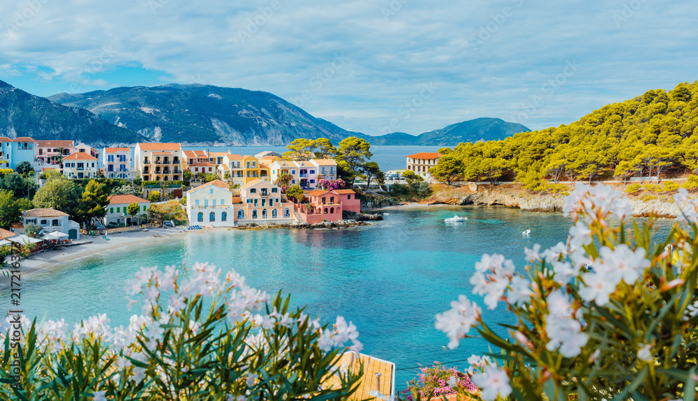 Fototapeta Panoramic view to Assos village in Kefalonia, Greece. Bright white blossom flower in foreground of turquoise colored calm bay of Mediterranean sea and beautiful colorful houses in background