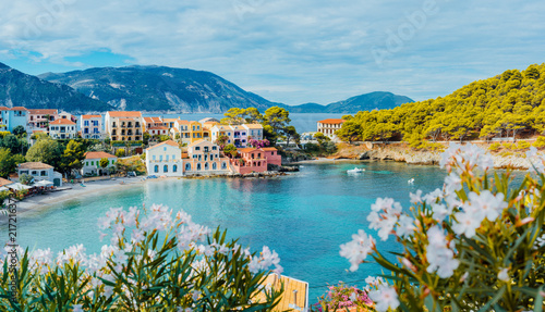 Panoramic view to Assos village in Kefalonia, Greece Tablou Canvas
