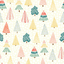 Modern Doodle Christmas Trees In Front Of Snowflakes On A White Background. Seamless Vector Pattern Background. Perfect For Holiday Cards, Wrapping Paper, And Fabric. Geometric Christmas Tree Design.