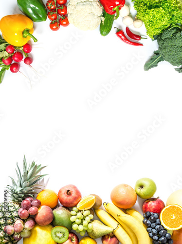 Frame of fresh vegetables and fruits isolated on white background