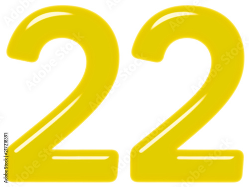 Poster  Numeral 22, twenty two, isolated on white background, 3d render