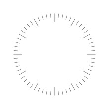 Clock Face. Blank Hour Dial. Dashes Mark Minutes And Hours. Simple Flat Vector Illustration.