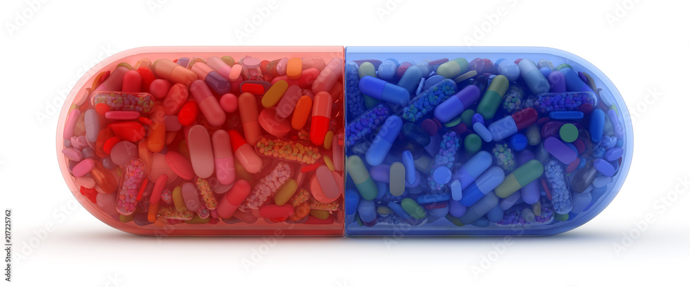 Fototapeta Large red and blue pill filled with colorful pills - 3d render