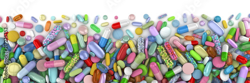 Stampa su Tela Healthcare themed pile of colorful pills - 3d render