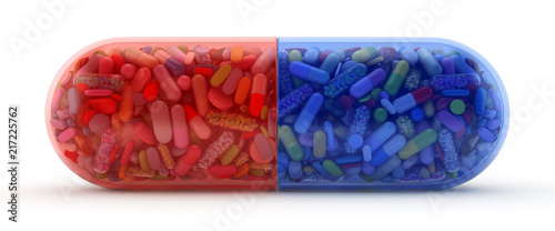 Fototapeta Large red and blue pill filled with colorful pills - 3d render obraz