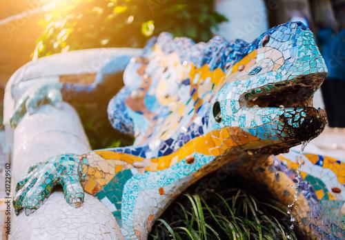 Photo  Multicolored Mosaic Salamander El Drac, Park Guell, Barcelona, Catalonia, Spain,
