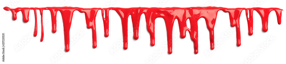 Fototapeta Red blood like paint dripping isolated on white