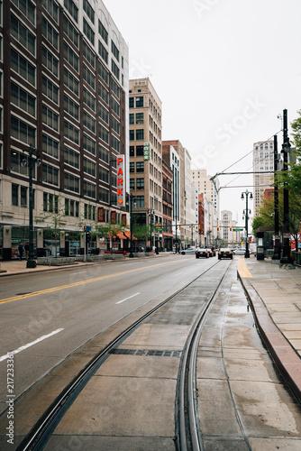 Keuken foto achterwand New York City Woodward Avenue in downtown Detroit, Michigan