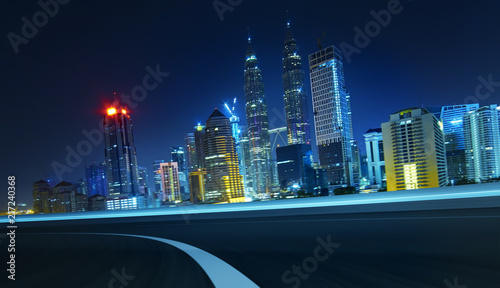 Canvas Prints Kuala Lumpur City street road with motion blur . Night scene .Transportation concept .