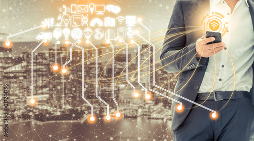 Photo Smart city and wireless communication network.