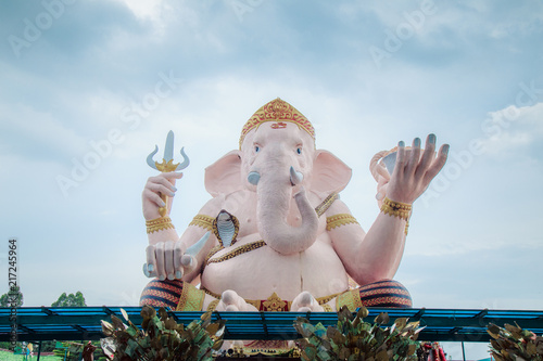Ganesha Park with giant idol of lord Ganesha one of religion in India God in Nak Canvas Print