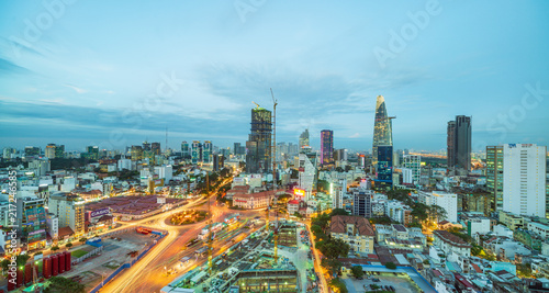 Foto  Beautiful sunset of Ho Chi Minh city skyline - Administrative and Financial dist