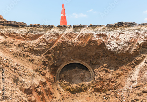 Obraz na plátne Row of Concrete Drainage Pipe on a Construction Site