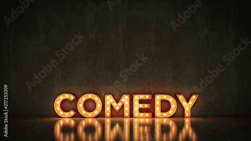 Stampa su Tela  Neon Sign on Brick Wall background - comedy. 3d rendering
