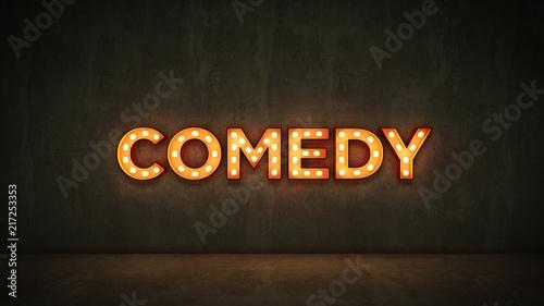 Fotografija  Neon Sign on Brick Wall background - comedy. 3d rendering