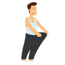 Healthy Slim Man In Big Pants After Weight Loss .