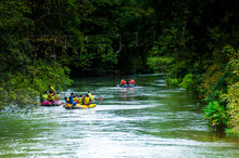 Sports Rafting River In The Fo...