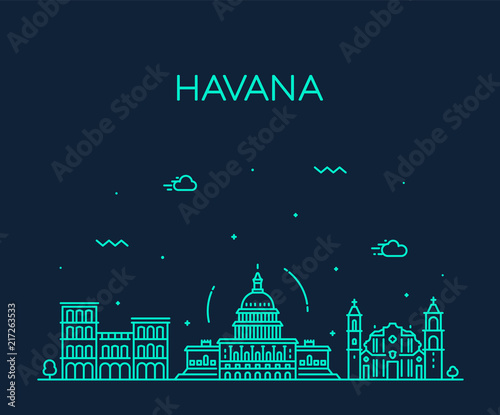 Havana city skyline, Cuba vector linear style city