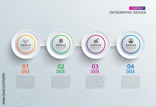 Infographics circle paper with 4 data horizontal template. Vector illustration abstract background. Can be used for workflow layout, business step, brochure, flyers, banner, web design.
