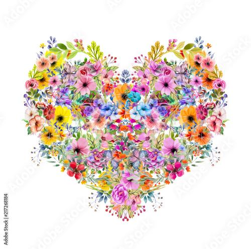 Цветочные красочные сердца на белом фоне