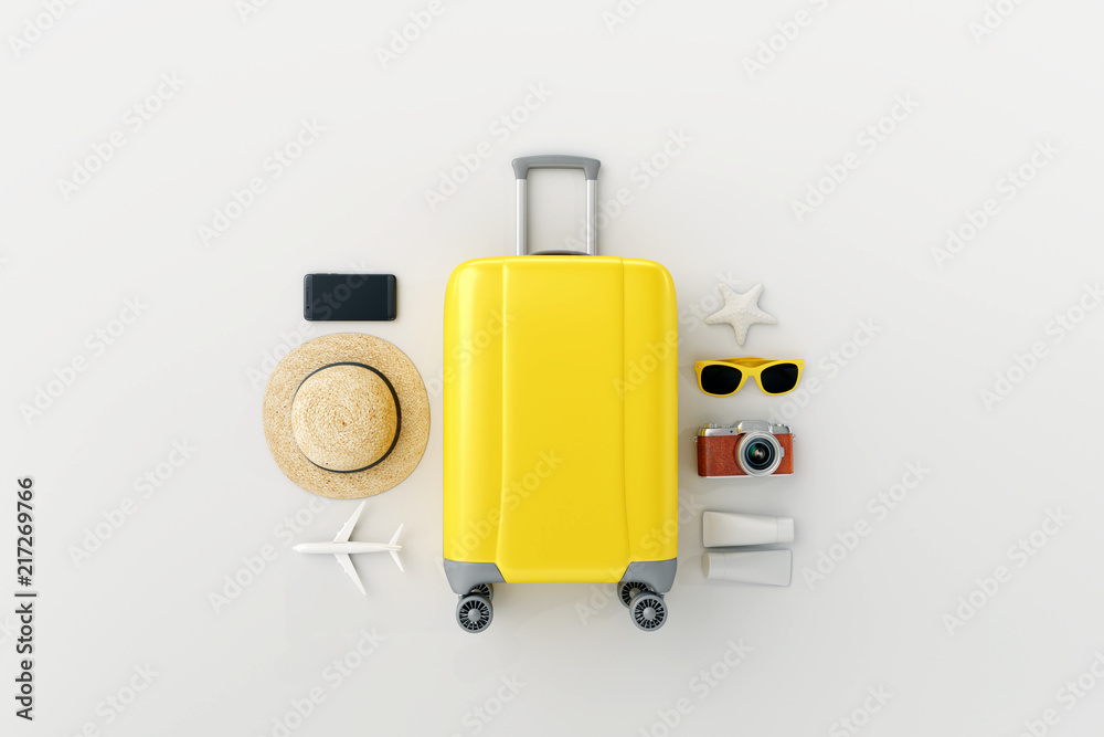 Fototapeta Flat lay yellow suitcase with traveler accessories on white bright background. travel concept. 3d rendering