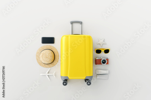 Fototapeta Flat lay yellow suitcase with traveler accessories on white bright background. travel concept. 3d rendering obraz