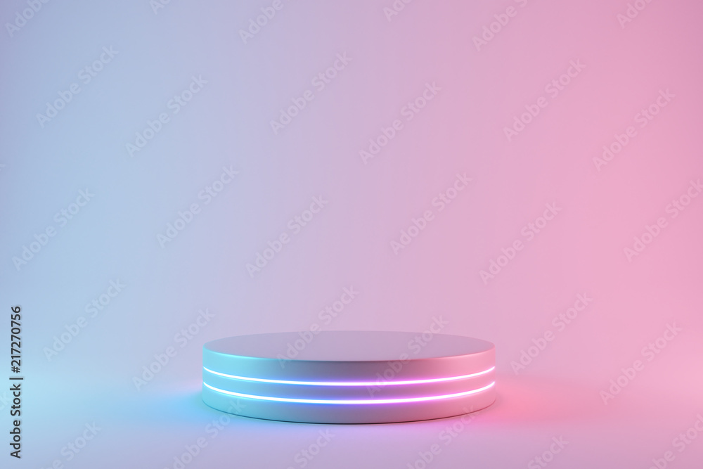 Fototapety, obrazy: Blank product stand with neon lights on pastel colors background. 3d rendering