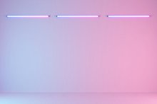 Empty Studio Pastel Room With Neon Tube On Wall Background. 3d Rendering