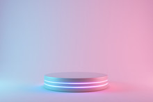 Blank Product Stand With Neon Lights On Pastel Colors Background. 3d Rendering