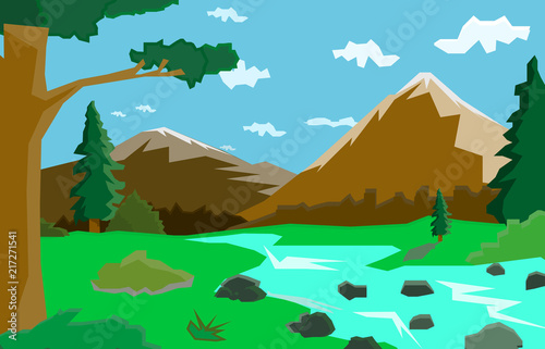 Foto op Aluminium Pool Mountain landscape with river and trees, graphic illustration,